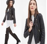 OEM High Quality Long Sleeve Zippered Women Leather Jacket