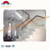 El chino moderno balcón de la escalera de cristal templado / Pasamanos de Acero Inoxidable barandilla de vidrio escaleras de madera /