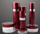 Rotes Set3 pp. Acrylsahneglas-luftlose Lotion-Flasche für das Kosmetik-Verpacken (PPC-CPS-014)