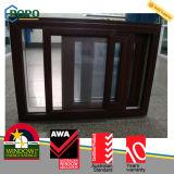 Finestra di vetro di plastica lustrata doppio di colore di legno, finestra di scivolamento del PVC