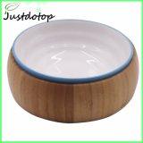 Venda de Madeira de bambu cachorro quente Taça Pet Stand com cerâmica Taça Cat
