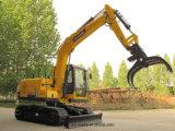 Excavadores hidráulicos de la correa eslabonada que cogen la máquina de madera