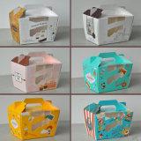 Caixa 6/4paper impressa logotipo personalizada para a caixa do queque/bolo/caixa do queque com o indicador desobstruído do PVC do plástico