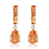 New Model Brass Brown Topaz Class Zircon Earrings Fashion Jewelry