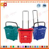 Bunter Plastiksupermarkt-Einkaufskorb mit Doppelt-Griffen (ZHb152)