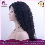 Parrucca indiana del merletto della parte anteriore dei capelli del Virgin dell'onda riccia lunga media