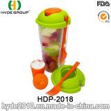 BPA geben Plastiksalat-Schüttel-Apparatcup mit Gabel frei (HDP-2018)