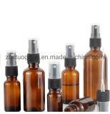 Verre de couleur ambre d'alimentation en bouteille en plastique clair Cap Casquette noire bouteille de parfum