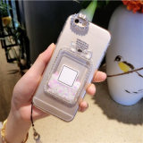 締縄とのiPhone7のためのドリフト砂の香水瓶の電話箱