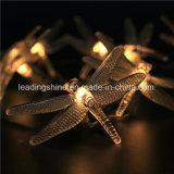 Blanco caliente hada de la libélula cadena luz con pilas de la de la decoración del hogar