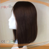 Main attachée Cheveux humains Couleur marron Poly Around Perimeter Toupee Hair Piece
