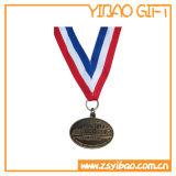 Medalhão de esmalte de logotipo personalizado com fita sublimada (YB-MD-12)