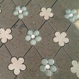 Rhombus de Brown del travertino con el azulejo de mosaico de mármol Waterjet de la mini flor de piedra de cristal