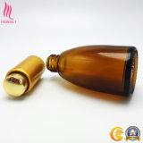 Frascos de vidro cosméticos Shaped ambarinos populares com o tampão dourado do conta-gotas para o petróleo essencial