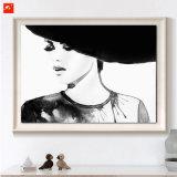 Decoração de parede de retrato de mulher em preto e branco