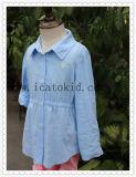 아이 소녀를 위한 보통 파란 긴 소매 아이들 여름 복장 소녀 블라우스 면 치마