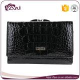 Бумажник женщин неподдельной кожи крокодиловой кожи конструкции элегантности Fani черный
