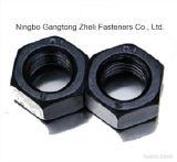 Noix ISO4032 Hex lourdes avec le fini noir