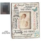 Рамка фотоего MDF декора младенца сбор винограда деревянная