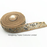 Il nuovo Rhinestone dell'elemento 2017 che assetta la difficoltà calda borda la catena del Rhinestone per gli accessori dell'indumento (oro di TP-20mm)
