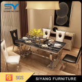 ホーム家具の大理石表のダイニングテーブルの椅子の鋼鉄ダイニングテーブル