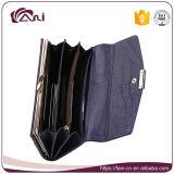 Бумажник женщин типа оптовой крокодиловой кожи бумажника неподдельной кожи пурпуровой длинний