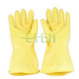 Перчатки работы черного и желтого латекса цвета химически упорного промышленного резиновый