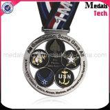 Médailles faites sur commande de pays en travers en métal de sablage argenté antique