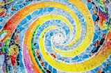 Décor mural moderne Peinture spirale en toile colorée
