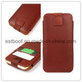 Caja de cuero del teléfono de la bolsa de los accesorios de la capa superior para el iPhone