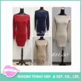 Sprung-verschönert strickende Kleid gebördelte Nagel-Raupe Form-Strickwaren