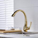 Mezclador sanitario del grifo del lavabo de las mercancías del oro