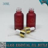 bottiglia di olio essenziale di vetro cosmetica glassata rosso scuro 30ml
