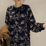 OEM продажи пружина/осенью длинной втулки цветочными орнаментами женщина платье с молнией