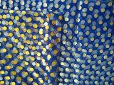 La tela de acoplamiento con el PUNTO imprimió el azul con el PUNTO de plata impreso