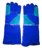 Синий коровы Split кожаные перчатки сварочные работы