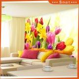 ホーム装飾の絵画のためのモモの活気付く花そして蝶