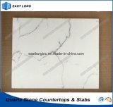 Surface solide en pierre de quartz pour la partie supérieure du comptoir de cuisine avec la qualité (blanc de Carrare)