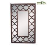 Espelho de madeira afligido da parede espelho decorativo com vidro chanfrado