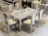 Tableau dinant de premier rectangle de marbre de Tableau dinant avec des meubles de maison de bâti d'acier inoxydable