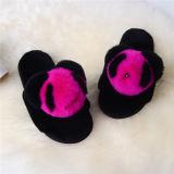 Реальные кролик мех в форме сердечка сандалии Зимняя обувь