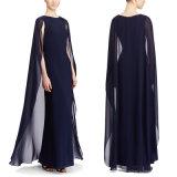 Rundes Muffen-Eleganz Georgette-Kap Jersey-Kleid-langes Abend-Kleid-Kleid