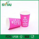 Tazza di carta su ordinazione di buona qualità di formato Nizza di stampa rossa della Rosa per il tè del caffè della bevanda