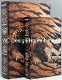 S/2 Diseño Animel Silvestre de Cuero de PU/madera MDF Cuadro de la libreta de almacenamiento de impresión