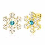 Joyería del regalo de la Navidad de los pendientes de la manera de las mujeres del oro de la aleación del cinc de la dimensión de una variable de la nieve