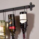 Crémaillère fixée au mur s'arrêtante du vin 5-Bottle en métal de motif de vigne et support en verre de 4-Wine Stemware