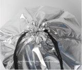 Sac de cordon fait sur commande bon marché de polyester, sac à provisions argenté de mode