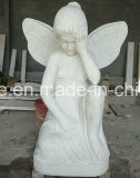 Di marmo bianco puro poca statua del Cherub di angelo