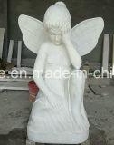 Чисто белое мраморный меньшяя статуя херувима ангела