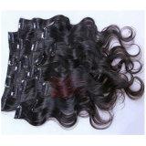 I capelli capi pieni del Virgin tessono la clip brasiliana dell'onda del corpo nelle estensioni dei capelli umani